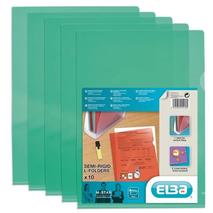 Bag of 10 L-Folders Elba M Star A4 PVC150µ Smooth Green, Picture 1