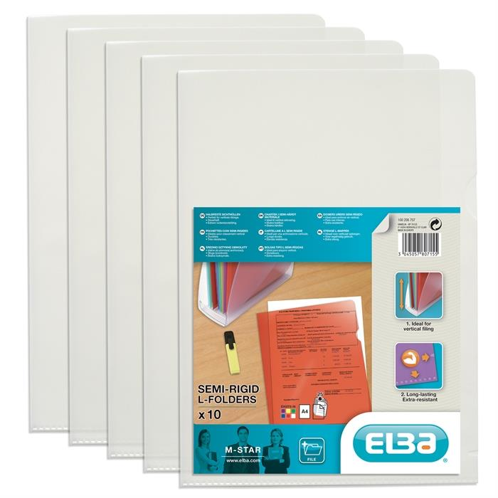 Picture of Bag of 10 L-Folders Elba M Star A4 PVC 150µ Smooth Clear