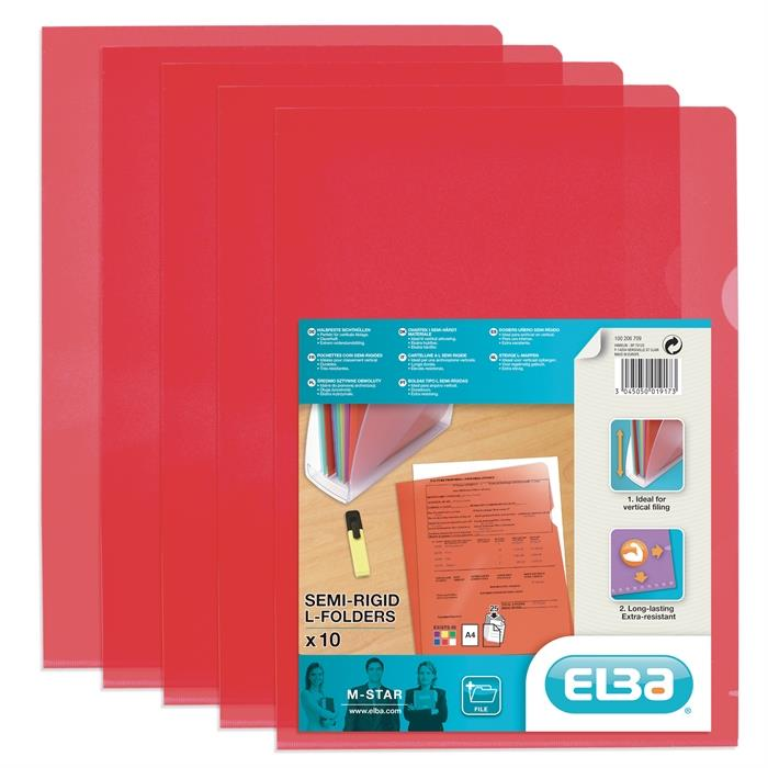 Picture of Bag of 10 L-Folders Elba M Star A4 PVC 150µ Smooth Red