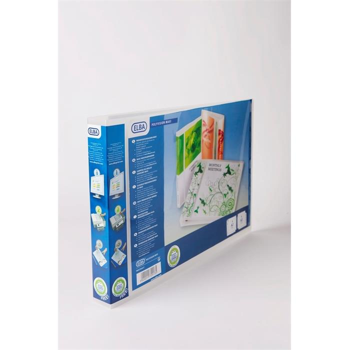 Ring Binder Elba Polyvision Maxivision A3 landscape 30mm Spine 4 rings translucent Clear, Picture 2
