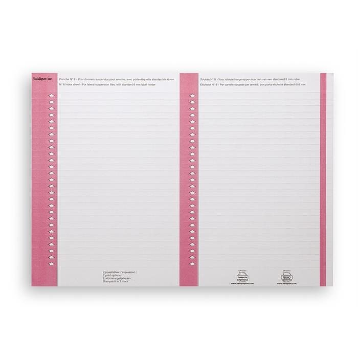Picture of Suspension Files Label Sheet Nr 8; Bag Of 10; Cardboard Pink