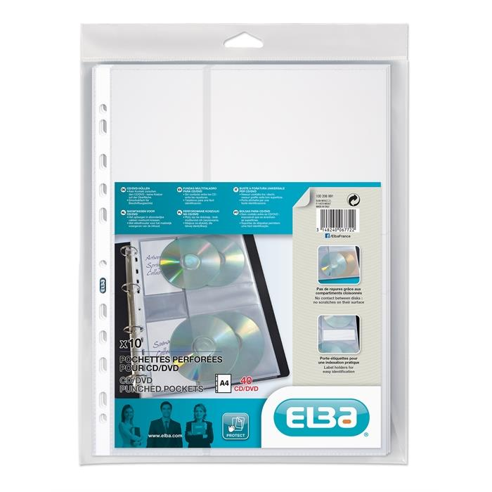 Bag of 10 Punched pockets Elba A4 for 4 CD/DVD Polypropylene 110µ Smooth Clear, Picture 1