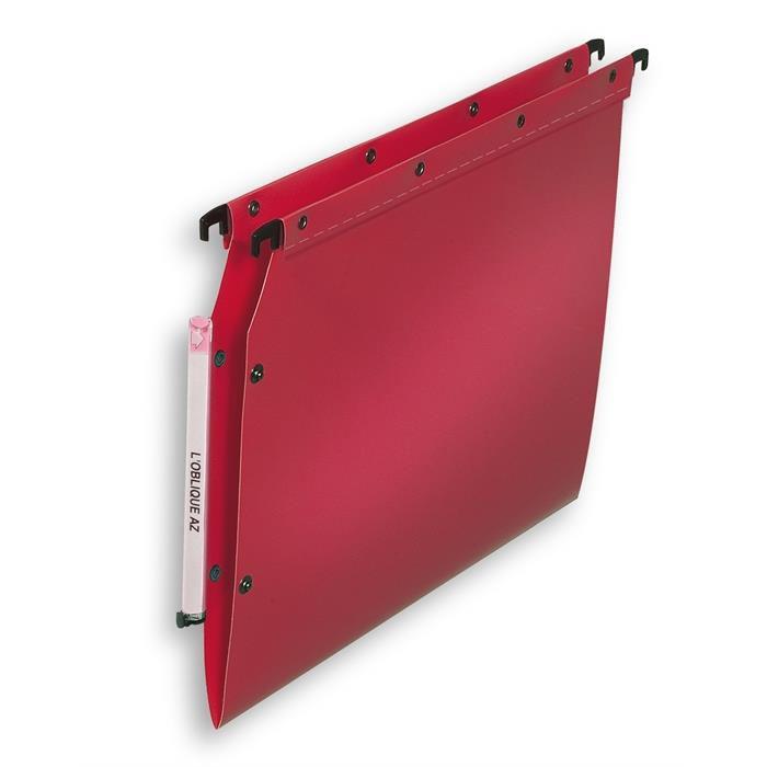 Elba Ultimate A4 Suspension File V Base; Lateral Polypropylene Box Of 10; Opaque Red, Picture 1