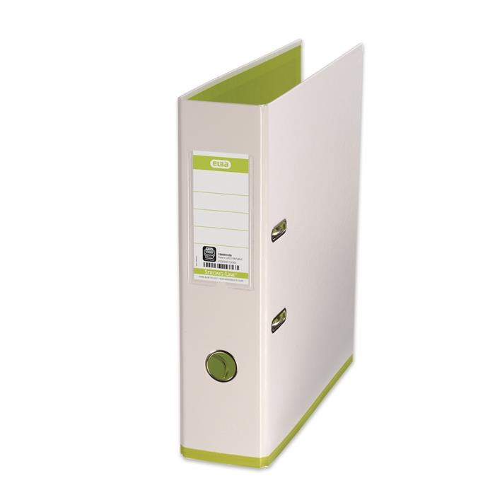 ELBA Lever Arch File mycolour A4, PP/PP, Spine 80 mm, 2 Rings, (white/light-green), Picture 1
