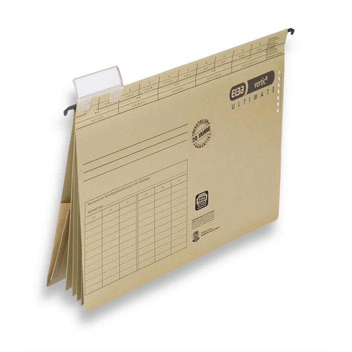ELBA vertic ULTIMATE, Suspension file with 4 dividers, A4, 240 gsm card, brown, Picture 1