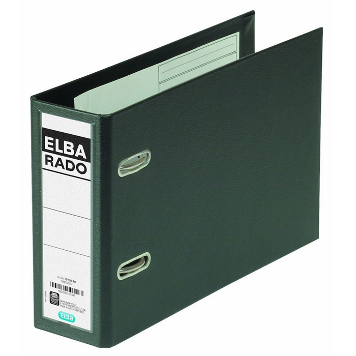 "Picture of ELBA Lever Arch File ""rado plast"" A5 landscape SP75mm, exchangeable spine label, Black"