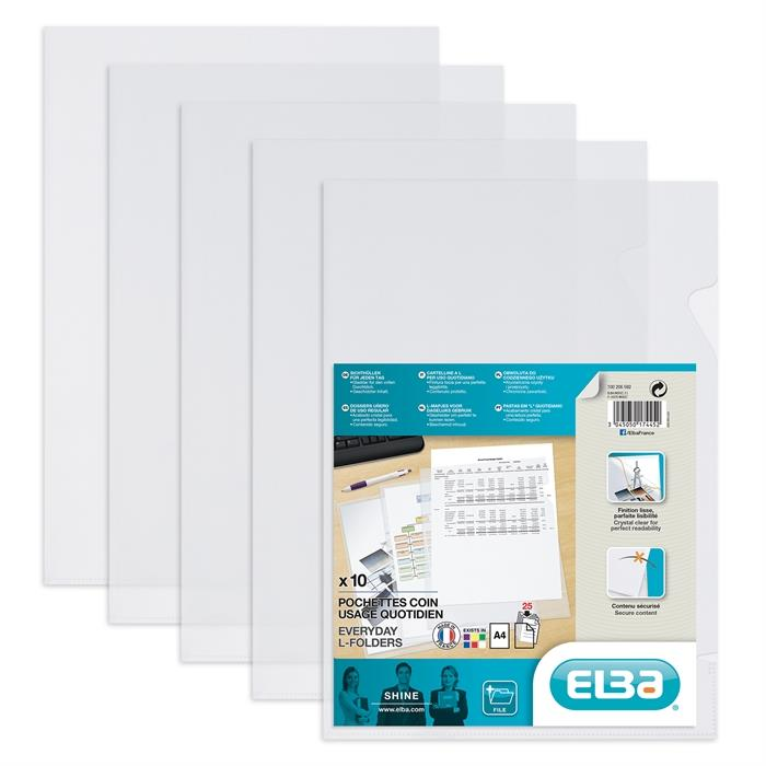 Bag of 10 L-Folders Elba Shine A4 Polypropylene 120µ Smooth Clear, Picture 2