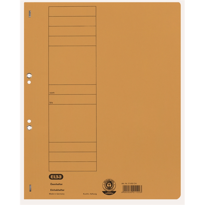 Picture of ELBA Smart Line Eyelet folder,full cover, with metal fastener, 250 gsm card, yellow