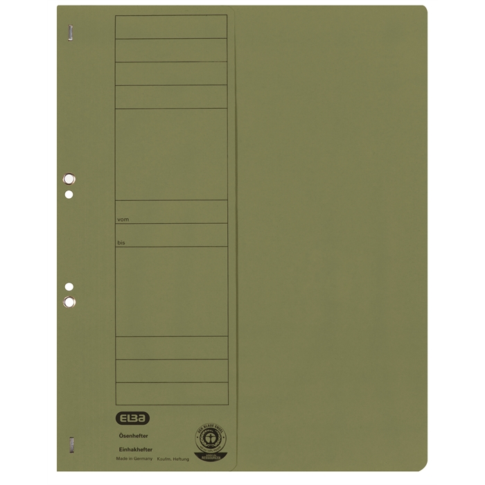 Picture of ELBA Smart Line Eyelet folder, half cover, with metal fastener for commercial filing, 250 gsm card, green