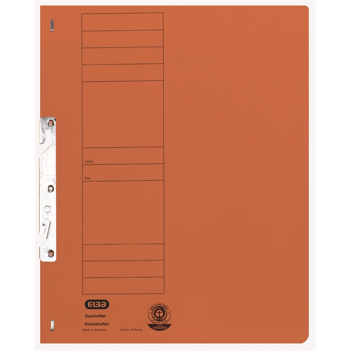 Picture of ELBA Smart Line In-hook folder, full cover, with metal fastener, 250 gsm, orange