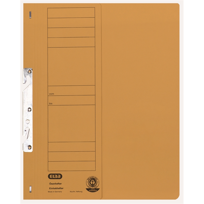 Picture of ELBA Smart Line In-hook folder, half cover, with metal fastener for commercial filing, 250 gsm, yellow