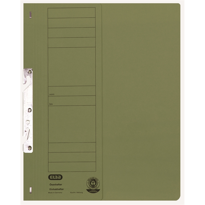 Picture of ELBA Smart Line In-hook folder, half cover, with metal fastener for commercial filing, 250 gsm, green
