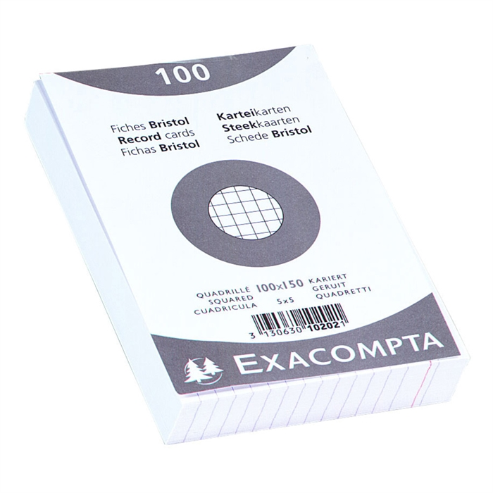 Picture of Pack of 100 record card shrinkwrapped squared and punched 100x150mm-White
