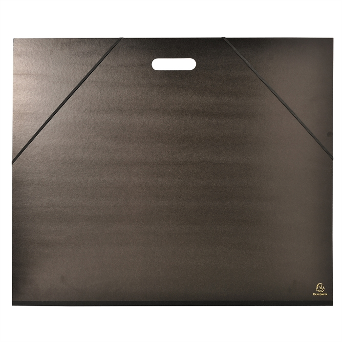 Picture of Portfolio glossy finished black kraft paper with ribbons and handle, 52x72 cm-Black