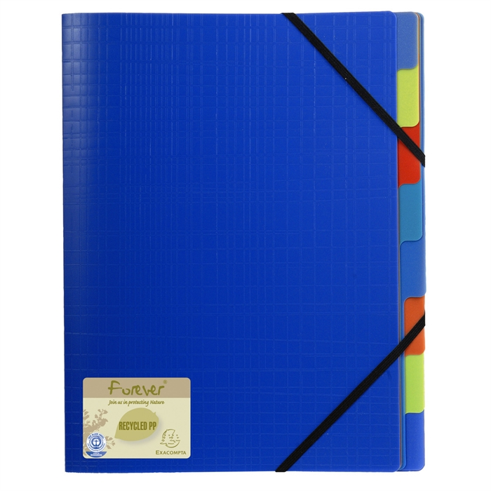 Picture of Multipart file with 3 flaps recycled polypropylene 8 compartments - A4-Blue