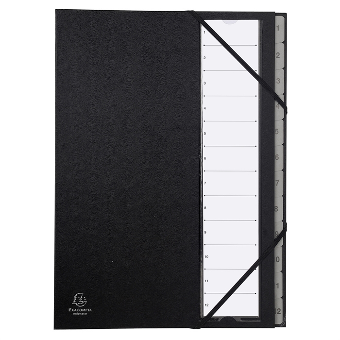 Picture of Multipart file Ordonator with expandable spine and stiff cover, 12 numerical tabs 1 to 12-Black