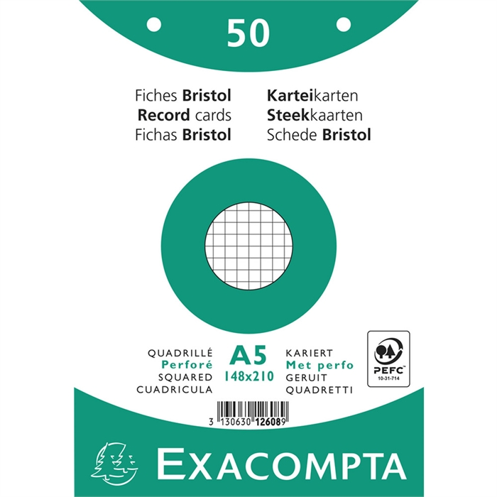 EXACOMPTA 12608E - Record Cards A5, Squared Punched 48x210 mm, Picture 1