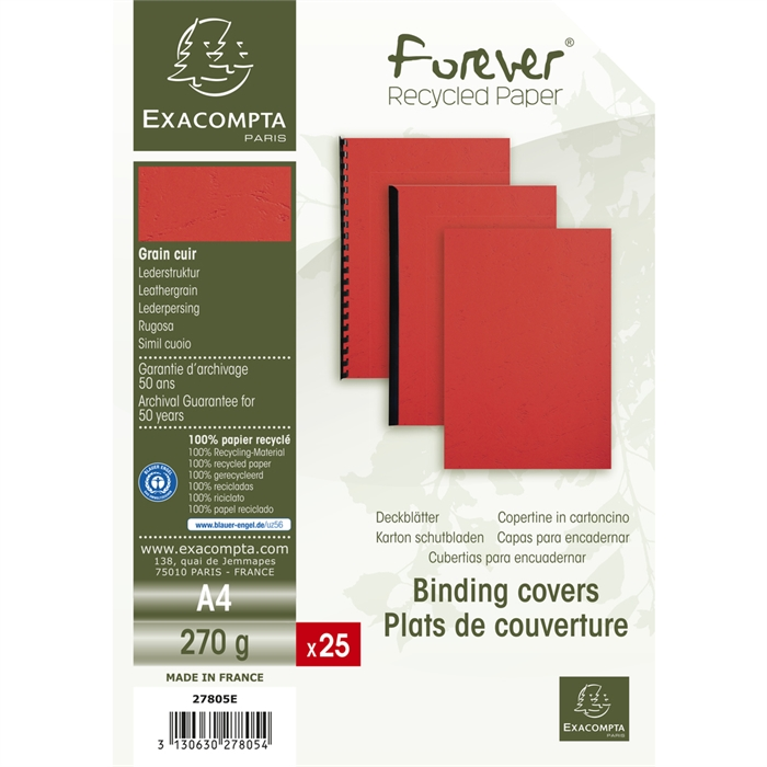 Pack of 25 covers FOREVER A4 270g red., Picture 4