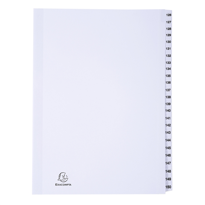 "Picture of ""Unpunched 25 part index white pressboard, 126 to 150.""."