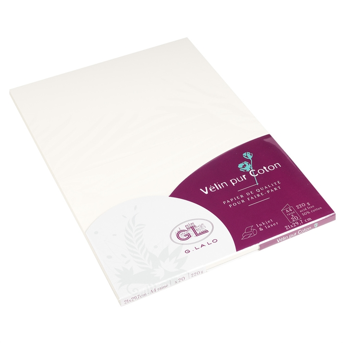 EXACOMPTA 48800L - Cotton vellum 20 sheets A4 220g, Picture 1