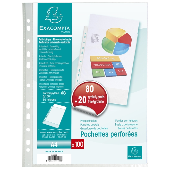 Bag of 100 punched folders grainy polypropylene 50 micron - A4., Picture 1