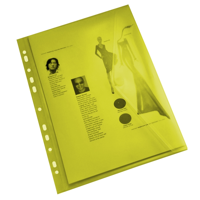 Picture of EXXO A4 Punched Document Binder Wallet Yellow - 10 pcs