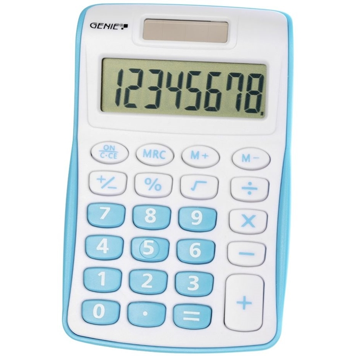 Picture of GENIE 120B - 8-digit Pocket calculator Dual power Blue