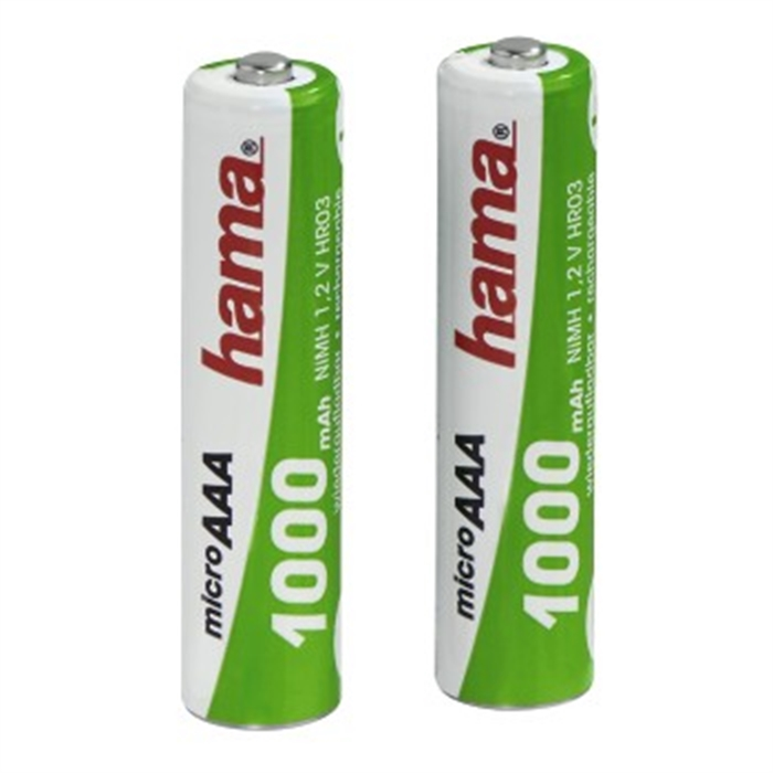 Picture of NiMH Batteries, 2x AAA, 1000 mAh, 1.2V / Rechargeable Battery Universal