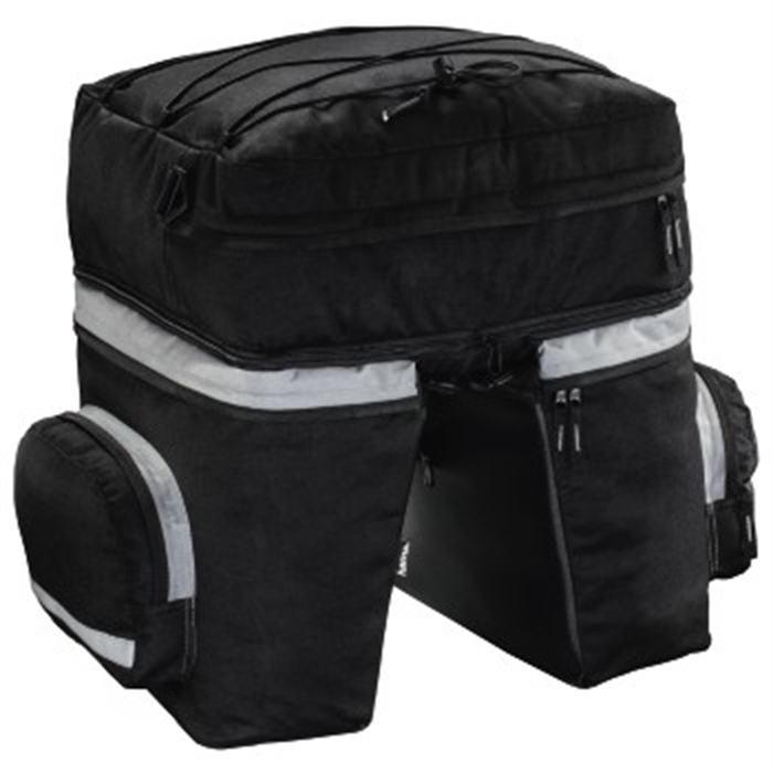 Picture of Bicycle Pannier Bag for Luggage Carrier, 3 parts, black / Bike Bag