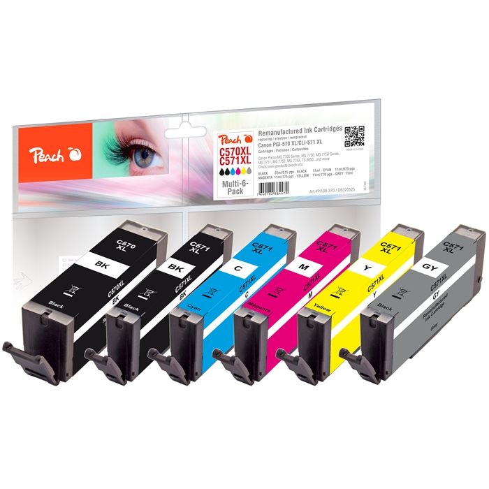 Picture of Canon 570XL/571XL, REM, Multi-6-Pack, PI100-370 6x ink bk,phbk,c,m,y,gy each, 1x22/5x11ml (UK=25)