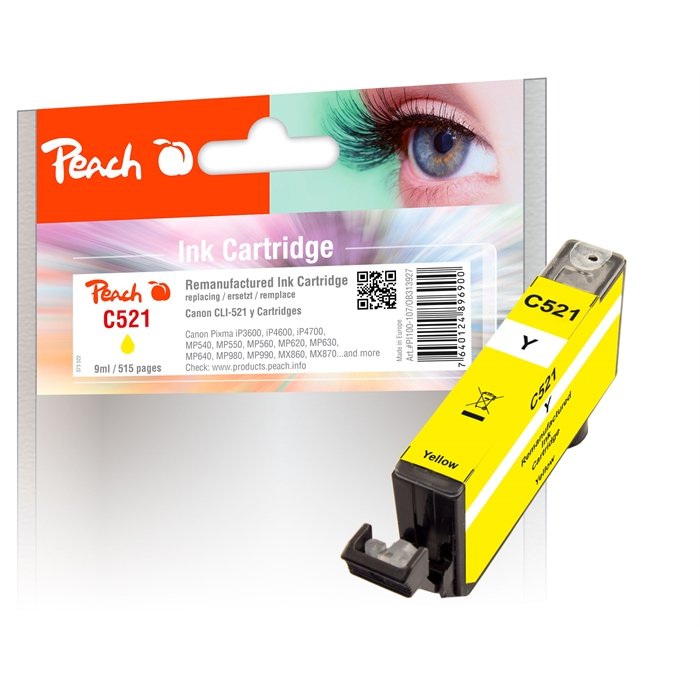 Picture of Canon CLI-521, yel, REM, PI100-107 1 remanufactured  ink cartridge (UK=85)