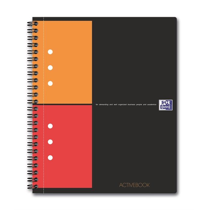 Picture of OXFORD International A5+ Polypropylene Twin-wire Activebook 5mm Squares 160 Pages Grey SCRIBZEE® Compatible