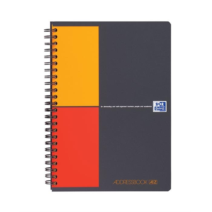 Picture of OXFORD International Addressbook A5 Polypropylene Cover Twin-wire Specific Ruling 144 Pages Grey