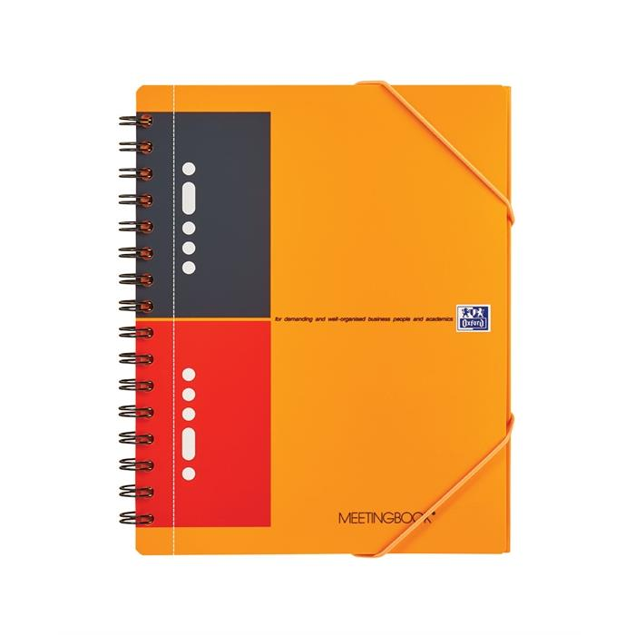Picture of OXFORD International A5+ Polypropylene Twin-wire Meetingbook Narrow Ruled 160 Pages Orange SCRIBZEE® Compatible
