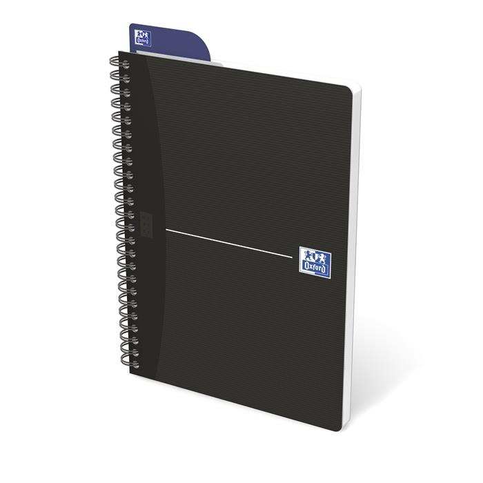 Picture of OXFORD Office Essentials A5 Soft Card Twin-wire Notebook Ruled 180 Pages Black SCRIBZEE® Compatible