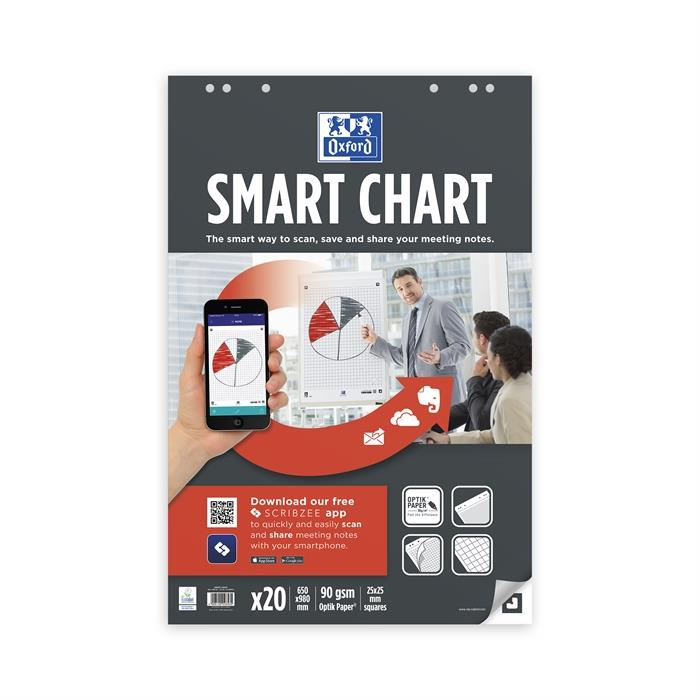 Afbeelding van OXFORD Smart Chart flipoverblok 650x980mm 6-gaats 20 vel 90g geruit 25mm