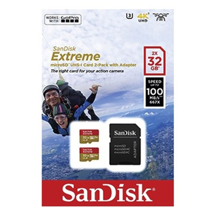 Afbeelding van SANDISK 173444 - MicroSDHC Extreme 32GB 100mb / 60mb,V30,A1 2p