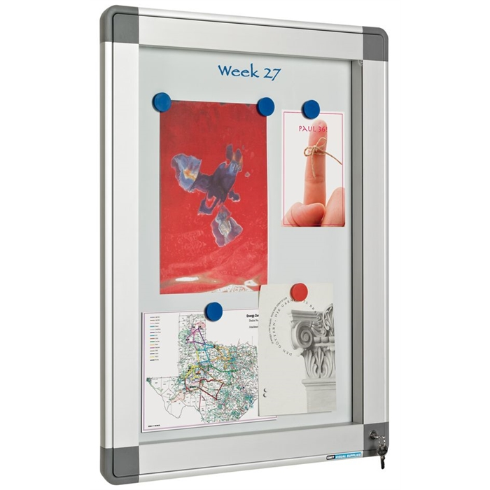Picture of SMIT VISUAL 13001.303 - Indoor/Outdoor showcase Recto hinged door 9xA4, White 90x63 cm