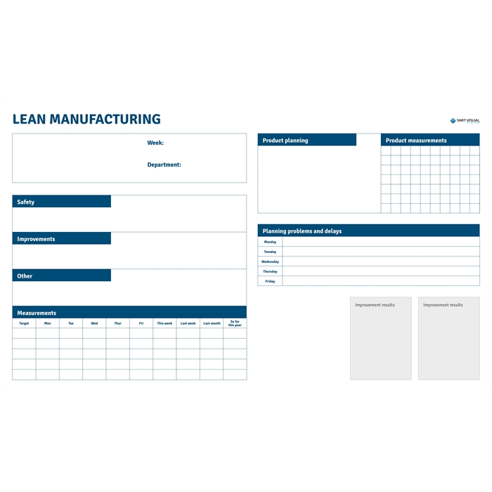 SMIT VISUAL 33208.020 - Writable printed Visual Management steel sheet for click frame, Lean Manufacturing A0, Picture 1