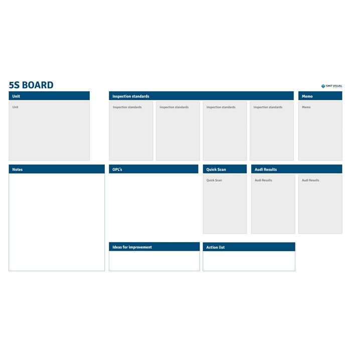 Picture of SMIT VISUAL 33208.030 - Writable printed Visual Management steel sheet for click frame, 5S A0