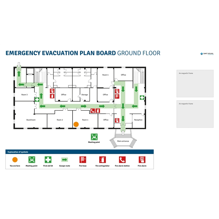 SMIT VISUAL 33208.042 - Writable printed Visual Management steel sheet for click frame, Emergency & Evacuation Plan A2, Picture 1