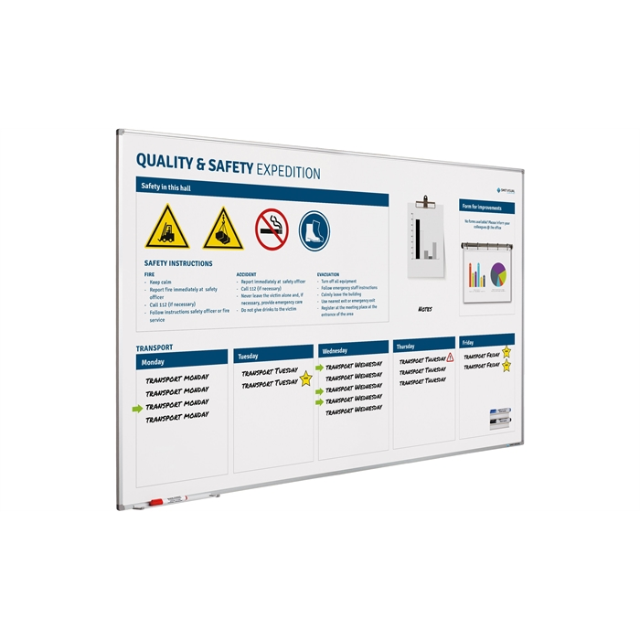SMIT VISUAL 11103.531 - Quality & safety board Softline frame, de 120x200 cm, Picture 1