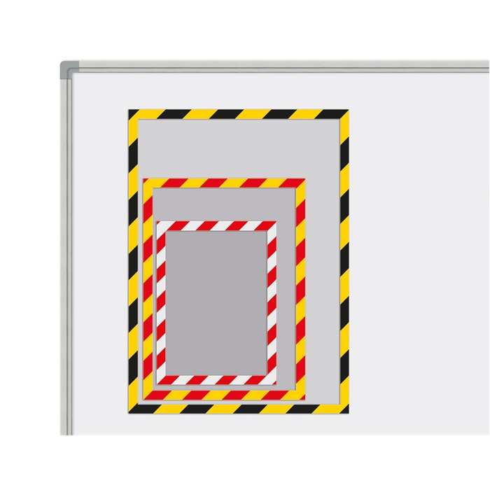 Picture of SMIT VISUAL 14036.488 - Magnetic pockets Industrial, set of 5 pieces Yellow/Red A5
