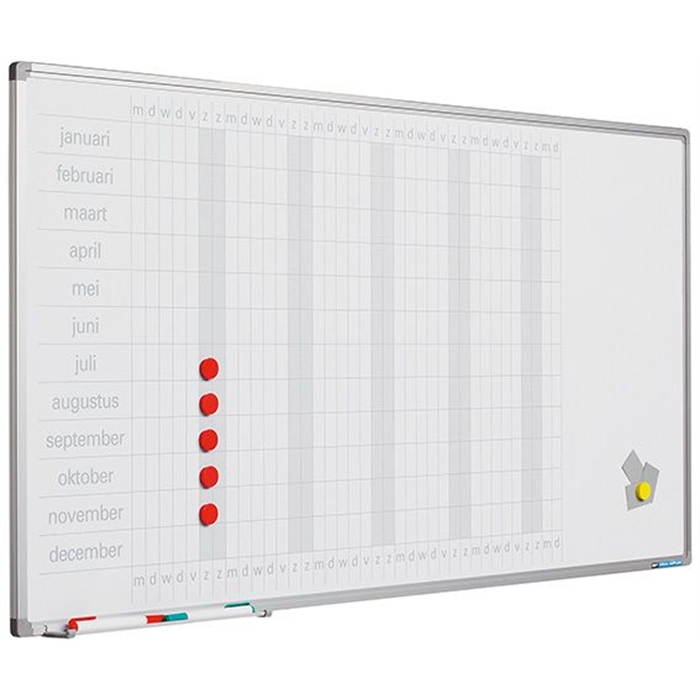 SMIT VISUAL 11103.282D - Year planboard, Softline profile, 8 mm, DE, Incl. daystrips, White, 60x120 cm, Picture 1