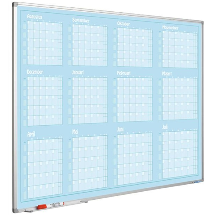SMIT VISUAL 11103.579 - Year planner Aug-Jul, Softline profile, 8 mm, GB, Blue, 90x120 cm, Picture 1