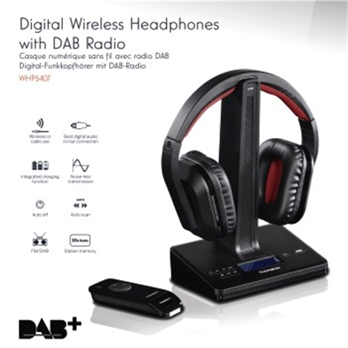 WHP5407 Digital Wireless Headphones with DAB Radio, Over-Ear, Picture 7