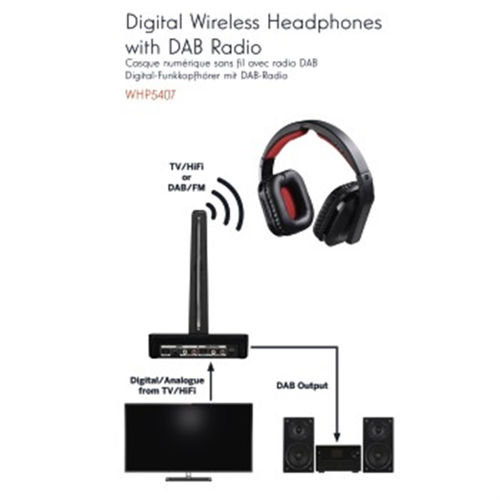 WHP5407 Digital Wireless Headphones with DAB Radio, Over-Ear, Picture 8