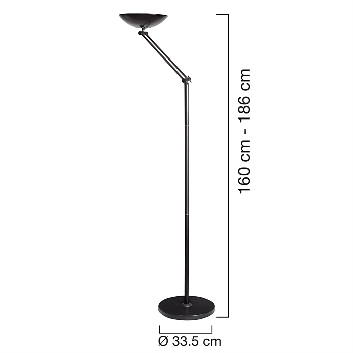 Unilux First Articulated Uplighter Halogen Black, Picture 2