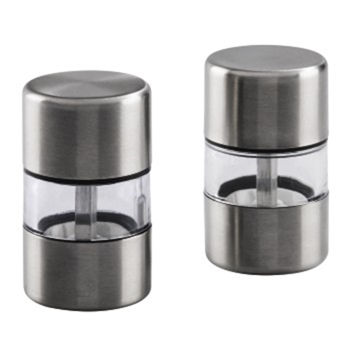 Mini salt- and peppermill-set, 2 pcs, stainless steel, Afbeelding 1