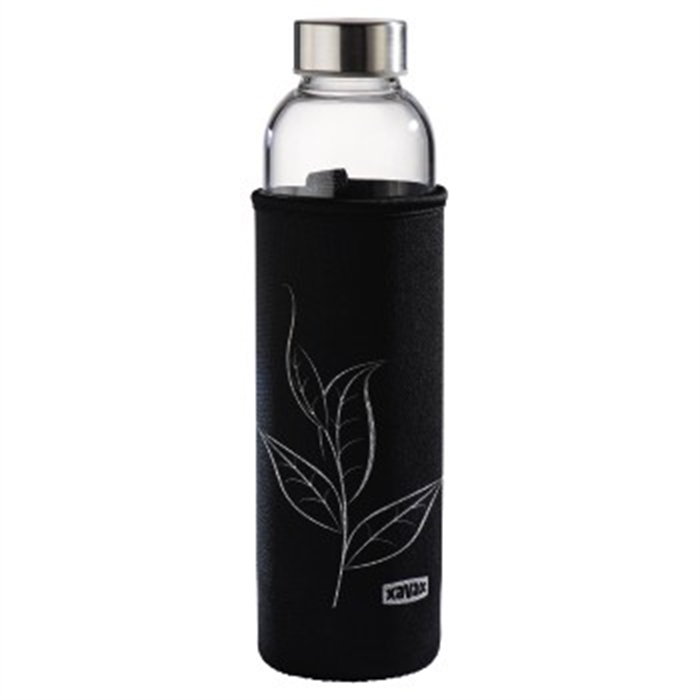 Picture of Glass Drinking Bottle with Sieve and Neoprene Sleeve, 500 ml, black / Drinking Bottle